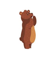 Cartoon howling grizzly bear wild animal vector