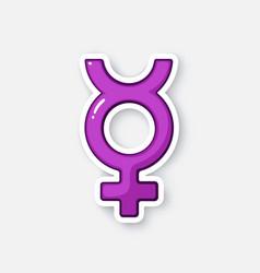 Cartoon sticker with transgender mercury symbol vector