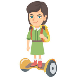 caucasian schoolgirl riding on gyroboard to school vector image