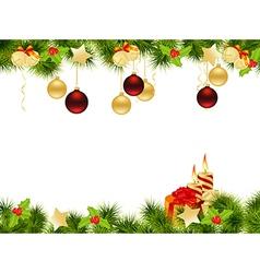 christmas pine frame 1409 vector image