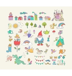 Collection fairy tales hand drawn doodles vector