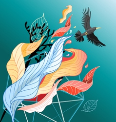 Colorful leaves and bird vector