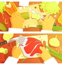 Cooking Of Salad And Steak Two Bright Color vector