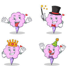 cotton candy character set with crazy magician vector image