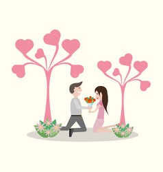 Couple lovely tree heart flowers vector