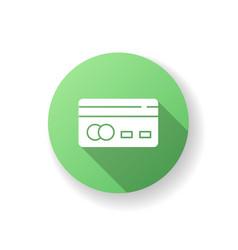 credit card back green flat design long shadow vector image