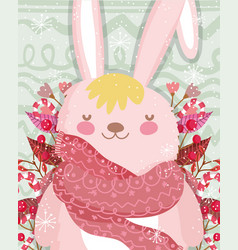 cute bunny with scarf foliage leaves merry vector image