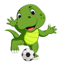 cute crocodile playing football vector image