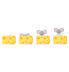 Cute peek out mouse and cheese flat image vector