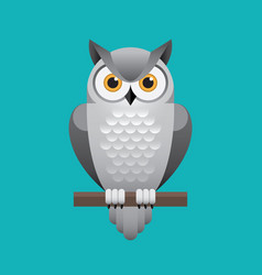 Cute white owl on blue background vector