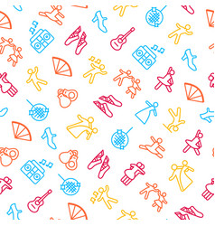 dancing signs thin line seamless pattern vector image