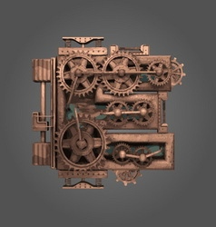E rusted letter with gears vector