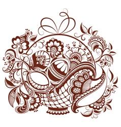 Easter design in mehndi style vector