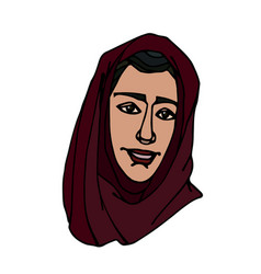 Eastern muslim young cute girl in red hijab vector