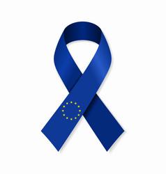 european union flag stripe ribbon on white vector image