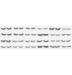 eyelashes shapes assortment doodle set vector image
