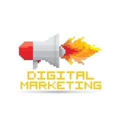 Flat pixel art megaphone icon vector