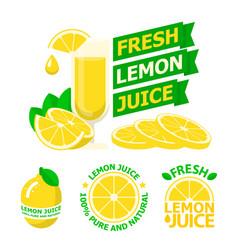Fresh lemon juice badge emblems vector