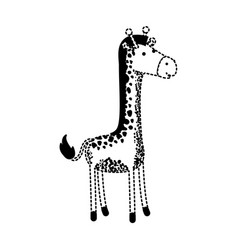 giraffe cartoon in black dotted silhouette vector image
