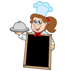 Girl chef with blackboard vector