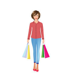 Girl holding shopping bags vector