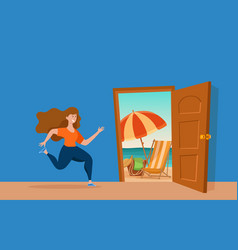 Girl run to open door summer sun beach sea vector