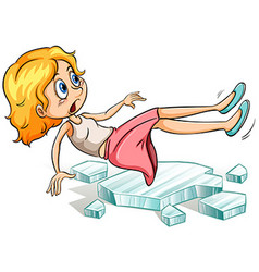 Girl slipping on cold ice vector