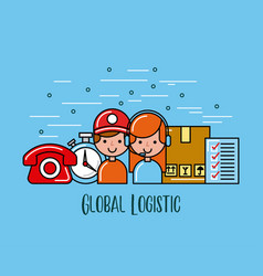 Global logistic person cartoon vector