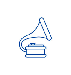 gramophone line icon concept vector image