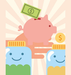 Hand with piggy money jars coins charity vector