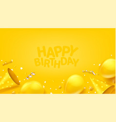 Happy birthday banner with balloons confetti ans vector