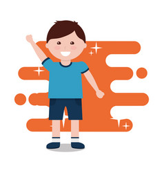 happy little boy character arms up funny vector image