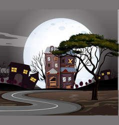 Haunted houses on the road at night vector
