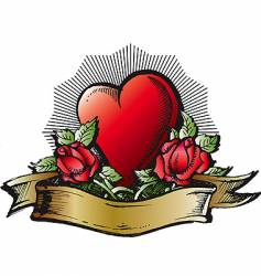 heart and roses color tattoo vector image