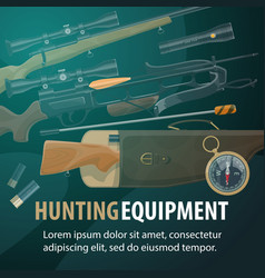 Hunting equipment weapon and ammunition vector