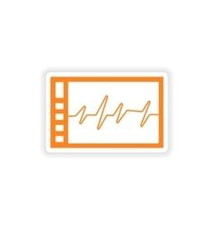 Icon sticker realistic design on paper ECG vector