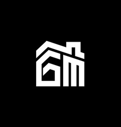 initial letter g and m with roreal estate vector image