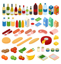 isometric big set of foodstuff food icons vector image