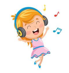 Kid listening music vector