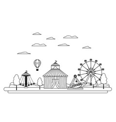 Line carnival with circus and mechanical ride vector