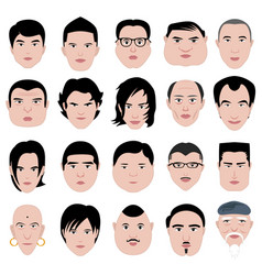man face shape hairstyle round fat thin old a set vector image