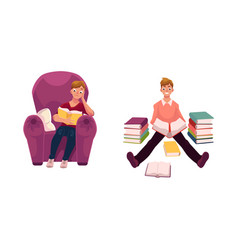 man reading a book in armchair and on the floor vector image