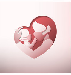 Mother holding baby with masks in heart shaped vector