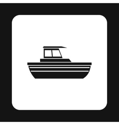 Motorboat with cabin icon simple style vector