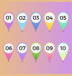 number bullet point gradient markers 1 to 10 vector image
