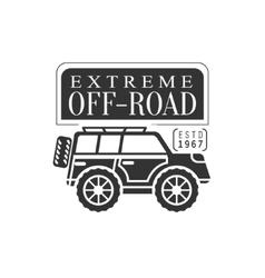 Off-roader extreme club and rental black and white vector