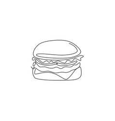 one single line drawing fresh logo american vector image