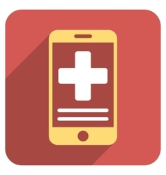 Online Medical Data Flat Rounded Square Icon with vector