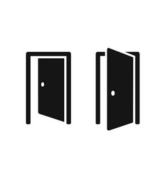 open doors push or pull simple black icons vector image