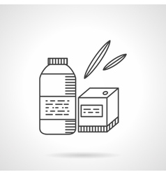 Organic food thin line icon Bottle and box vector